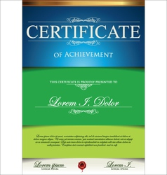 Green and blue certificate template vector