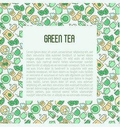 green tea ceremony concept with thin line icons vector image