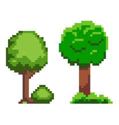 green tree and bush with grass pixel game vector image