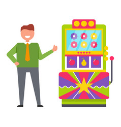 Guy playing vintage arcade game machine vector