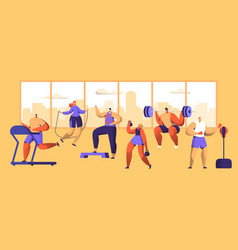 Gym workout character set sport cardio fitness vector