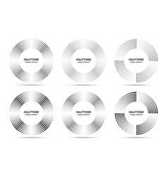 halftone circle frame abstract dots emblem set vector image