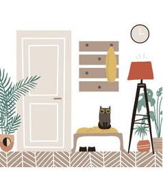 hall interior - cozy scandinavian furniture with vector image