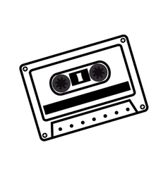 Hand drawing cassette music record icon vector