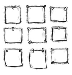 hand drawn blank sticky paper note sheet icon set vector image