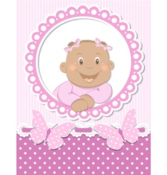 Happy African baby girl scrapbook pink frame vector