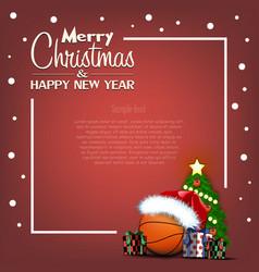 happy new year frame with basketball ball vector image