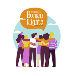 human rights card of diverse people friend group vector image