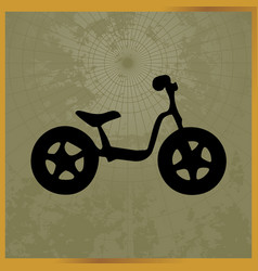 icon with a black bike field map vector image