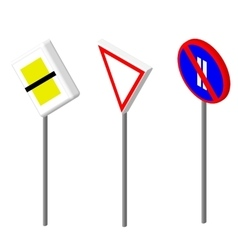 Isometric icons various road sign european vector