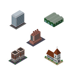 Isometric urban set of house office chapel and vector