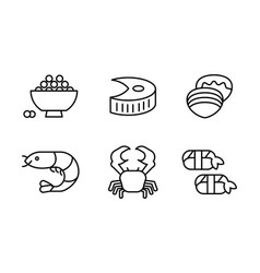 japanese cuisine dishes set asian food line icons vector image
