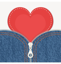 Jeans background with zipper and heart vector