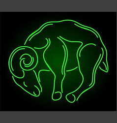 Line art with green neon ram silhouette vector
