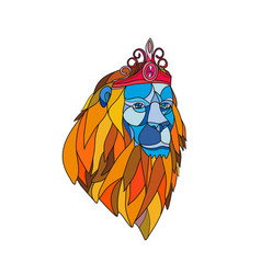 lion wearing tiara mosaic color vector image