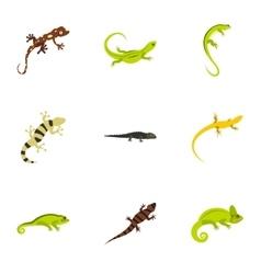 Lizard icons set flat style vector image