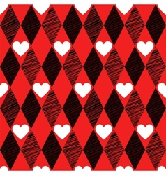 Love seamless background with rhombus and hearts vector
