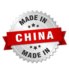 made in China silver badge with red ribbon vector image