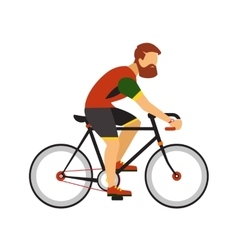 man with beard ride road bicycle cycling sport vector image