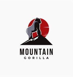 mountain and gorilla logo template vector image