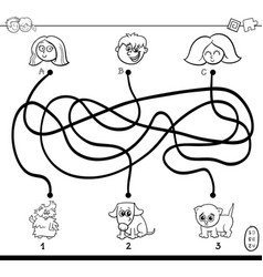 Paths maze with kids and pets coloring page vector