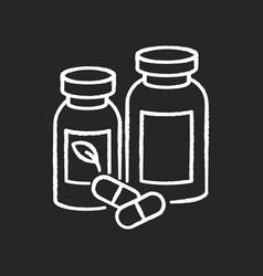 Pharmacy chalk white icon on black background vector