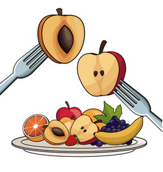 Plate with fruits nutrition with fork and knife vector