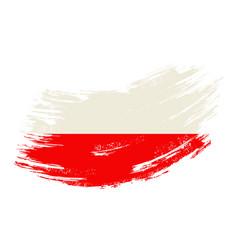 polish flag grunge brush background vector image