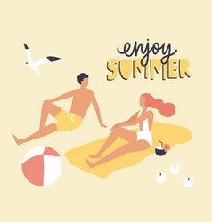 postcard template with couple dressed in swimwear vector image