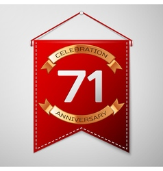 Red pennant with inscription Seventy one Years vector