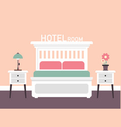 retro room interior design with bed flat design vector image