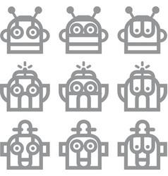 Robot head silver technology icon symbol vector