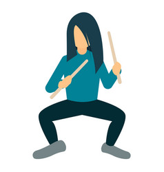 Rock man drummer icon flat style vector