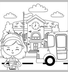 School building bus and girl cartoon design vector