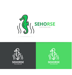 seahorse and seafood logo design template vector image