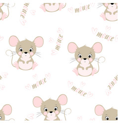 seamless pattern with cute mouse vector image