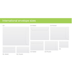 Set of international envelope sizes vector
