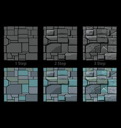 Set seamless stone texture 3 step drawing vector