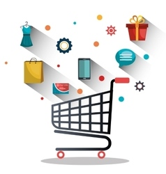 Shopping online and digital marketing vector image