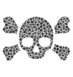 Skull crossbones composition of filled circles vector