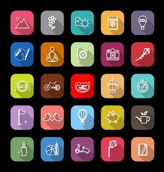Slow life activity line icons with long shadow vector