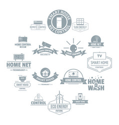 smart home logo icons set simple style vector image