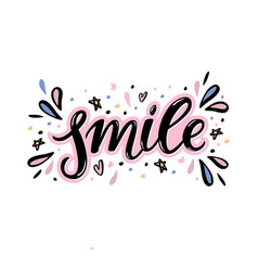 smile hand lettering word with handdrawn design vector image