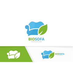 Sofa and leaf logo combination couch vector