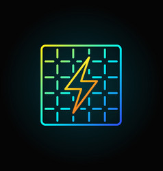 Solar panel colorful icon vector