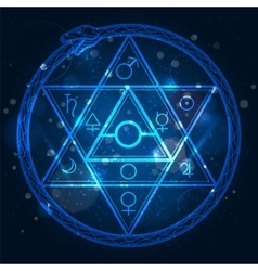 Star of David and uroboros sign vector image