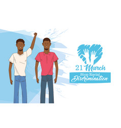 stop racism international day poster with afro men vector image
