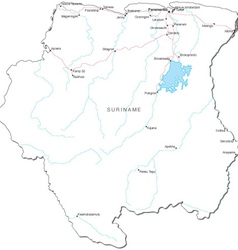 Suriname Black White Map vector image