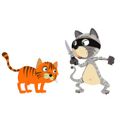 Thief cat and a victim on white background vector