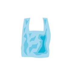 Transparent disposable plastic bag with handle in vector